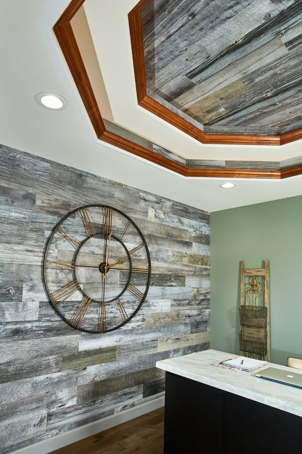 Enkor barn wood wall planks in Mountain Music used in high-end home office space.
